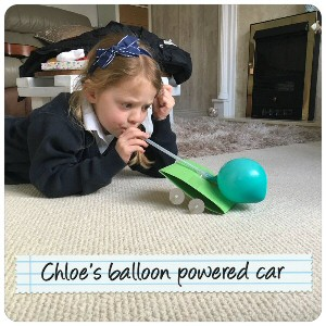Chloe balloon powered car
