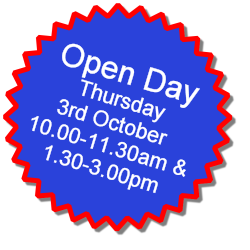 Open Day, Thursday 3rd October, 10.00-11.00am & 1.30-3.30pm